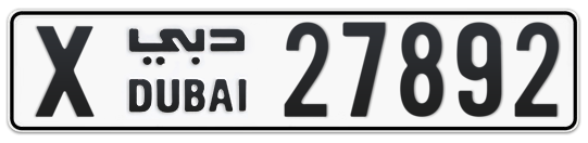 X 27892 - Plate numbers for sale in Dubai