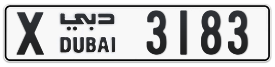 X 3183 - Plate numbers for sale in Dubai