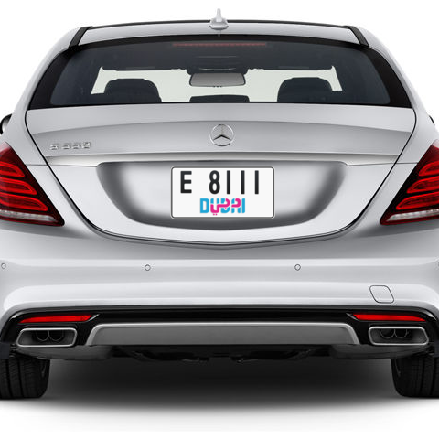 Dubai Plate number E 8111 for sale - Short layout, Dubai logo, Сlose view
