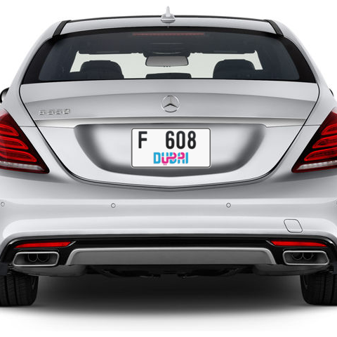 Dubai Plate number F 608 for sale - Short layout, Dubai logo, Сlose view