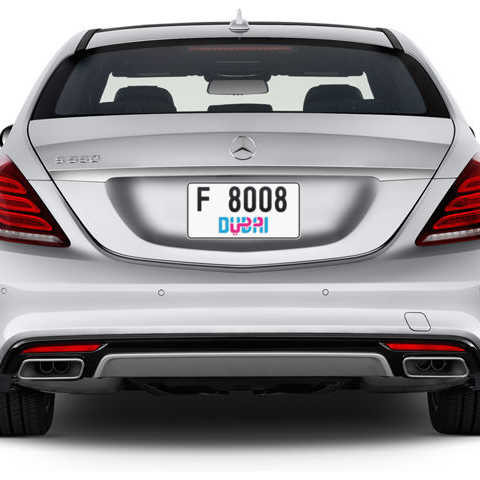 Dubai Plate number F 8008 for sale - Short layout, Dubai logo, Сlose view