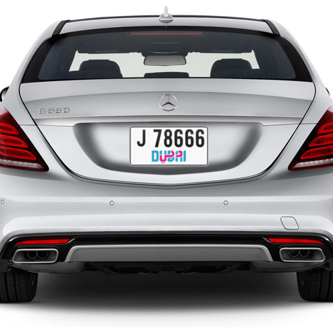 Dubai Plate number J 78666 for sale - Short layout, Dubai logo, Сlose view