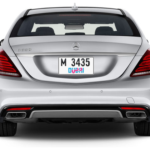 Dubai Plate number M 3435 for sale - Short layout, Dubai logo, Сlose view