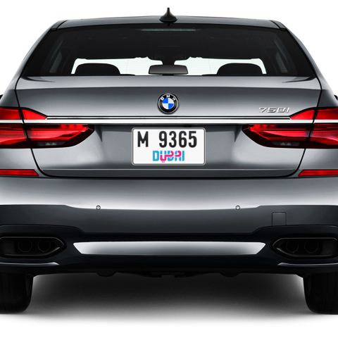 Dubai Plate number M 9365 for sale - Short layout, Dubai logo, Сlose view