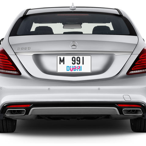 Dubai Plate number M 991 for sale - Short layout, Dubai logo, Сlose view