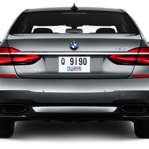 Dubai Plate number Q 9190 for sale - Short layout, Dubai logo, Сlose view
