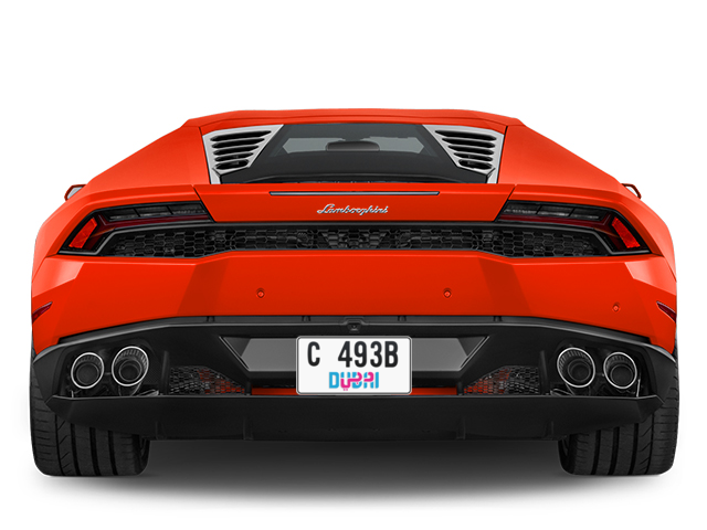 Dubai Plate number C 493B for sale - Short layout, Dubai logo, Full view