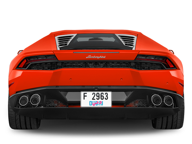Dubai Plate number F 2963 for sale - Short layout, Dubai logo, Full view