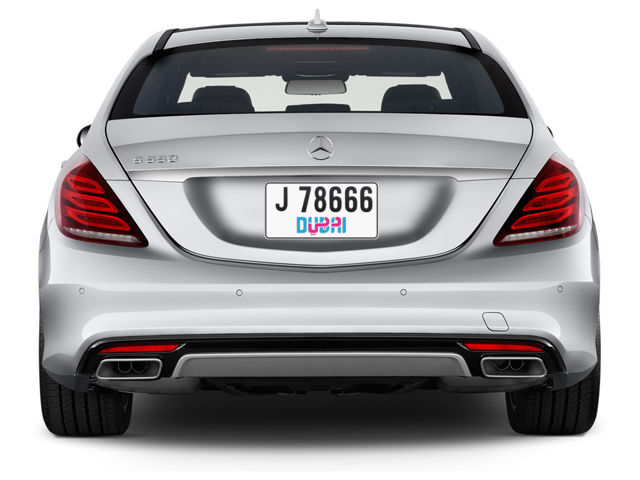 Dubai Plate number J 78666 for sale - Short layout, Dubai logo, Full view