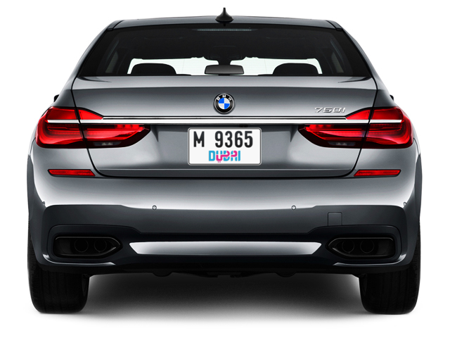 Dubai Plate number M 9365 for sale - Short layout, Dubai logo, Full view