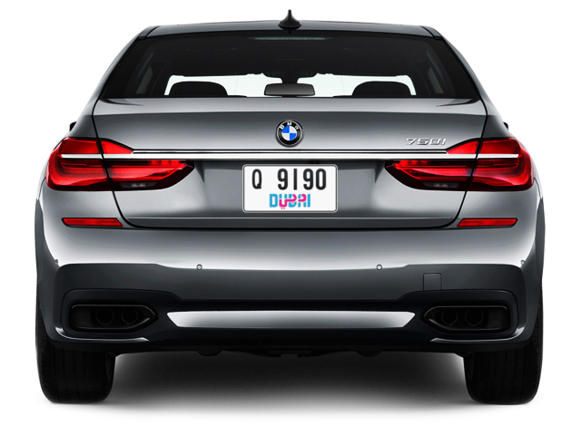 Dubai Plate number Q 9190 for sale - Short layout, Dubai logo, Full view