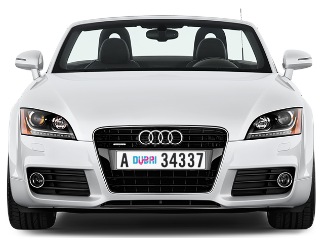 Dubai Plate number A 34337 for sale - Long layout, Dubai logo, Full view