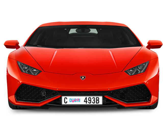 Dubai Plate number C 493B for sale - Long layout, Dubai logo, Full view