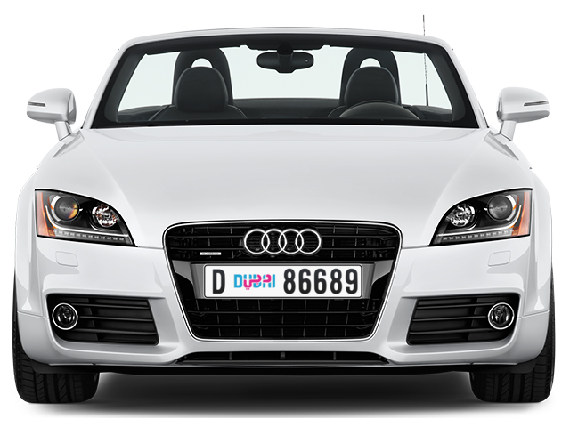 Dubai Plate number D 86689 for sale - Long layout, Dubai logo, Full view