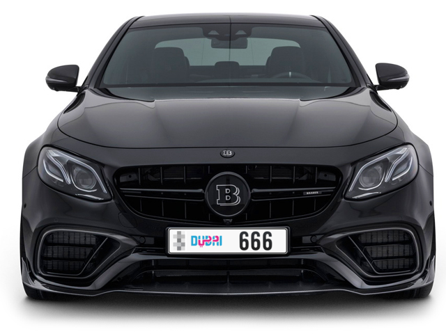 Dubai Plate number  * 666 for sale - Long layout, Dubai logo, Full view