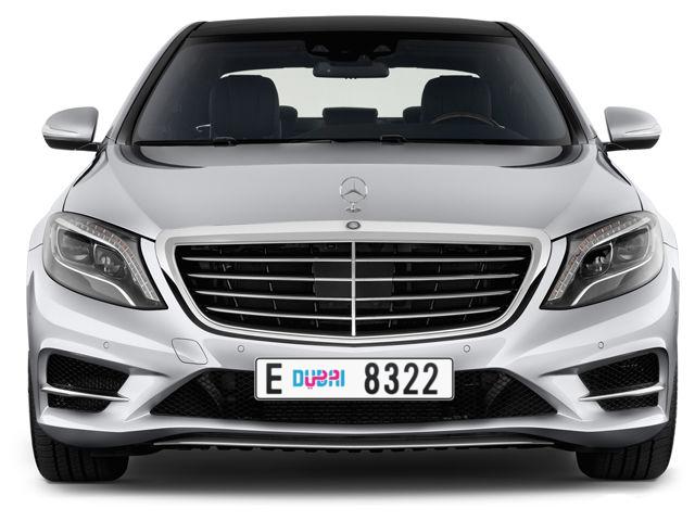 Dubai Plate number E 8322 for sale - Long layout, Dubai logo, Full view