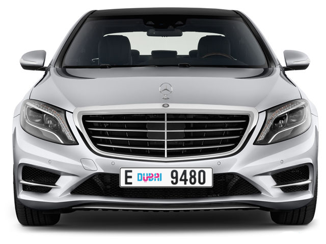 Dubai Plate number E 9480 for sale - Long layout, Dubai logo, Full view