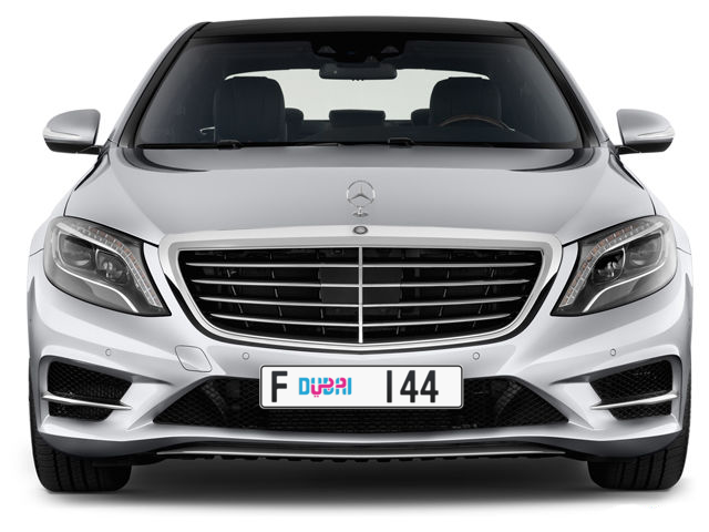 Dubai Plate number F 144 for sale - Long layout, Dubai logo, Full view