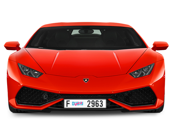 Dubai Plate number F 2963 for sale - Long layout, Dubai logo, Full view