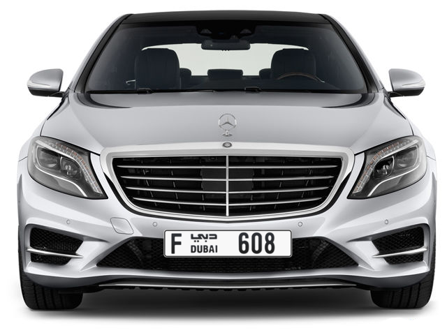 Dubai Plate number F 608 for sale - Long layout, Full view