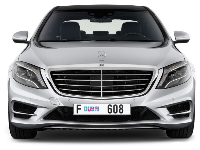 Dubai Plate number F 608 for sale - Long layout, Dubai logo, Full view
