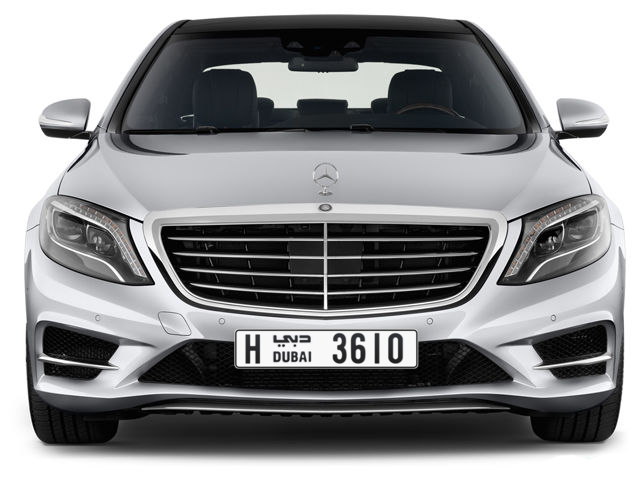 Dubai Plate number H 3610 for sale - Long layout, Full view