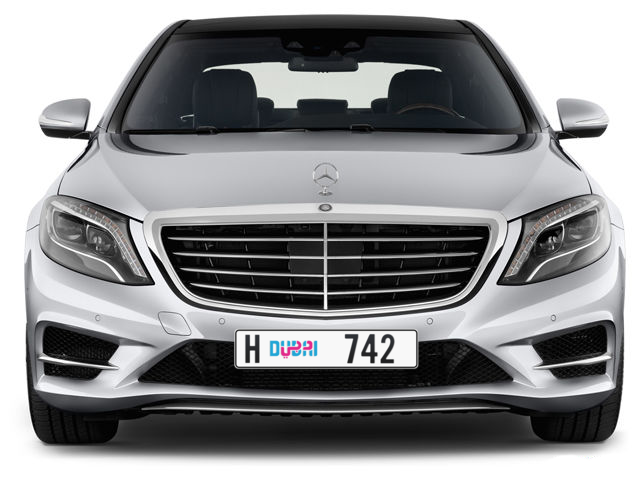 Dubai Plate number H 742 for sale - Long layout, Dubai logo, Full view