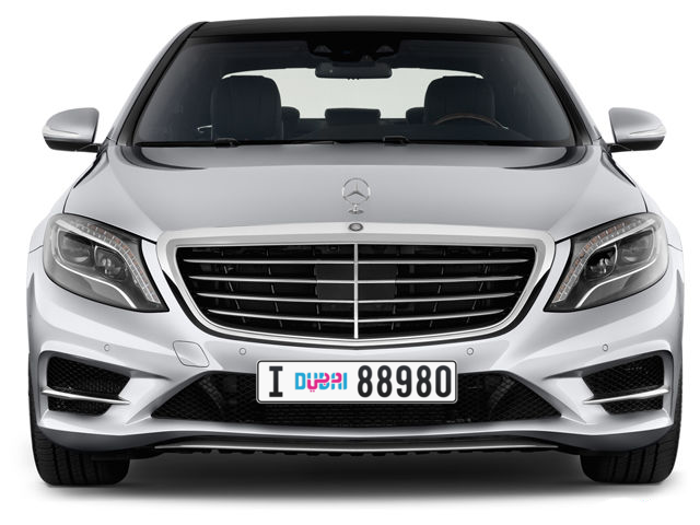 Dubai Plate number I 88980 for sale - Long layout, Dubai logo, Full view
