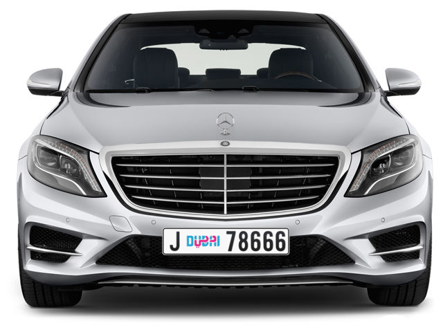 Dubai Plate number J 78666 for sale - Long layout, Dubai logo, Full view