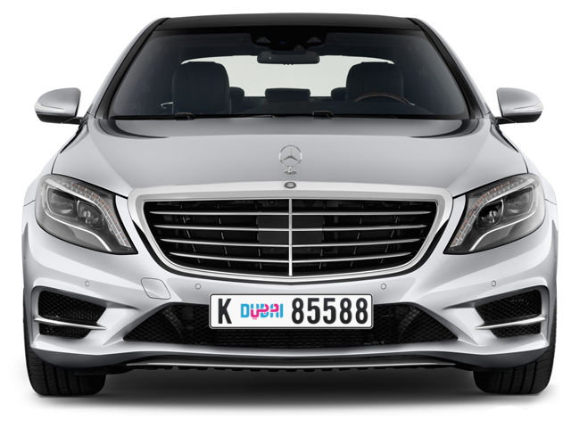 Dubai Plate number K 85588 for sale - Long layout, Dubai logo, Full view
