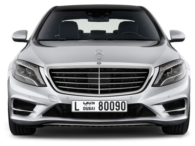 Dubai Plate number L 80090 for sale - Long layout, Full view