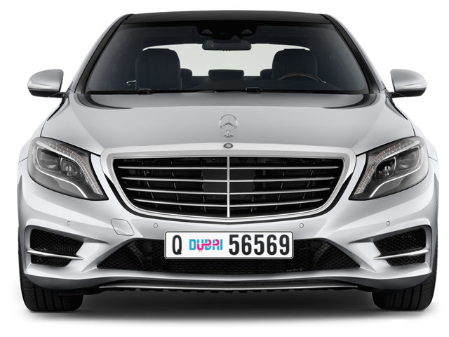 Dubai Plate number Q 56569 for sale - Long layout, Dubai logo, Full view