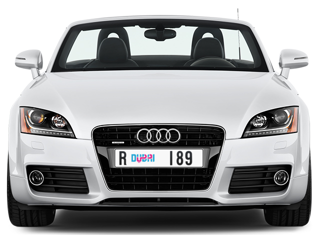 Dubai Plate number R 189 for sale - Long layout, Dubai logo, Full view