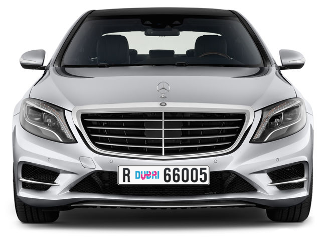 Dubai Plate number R 66005 for sale - Long layout, Dubai logo, Full view