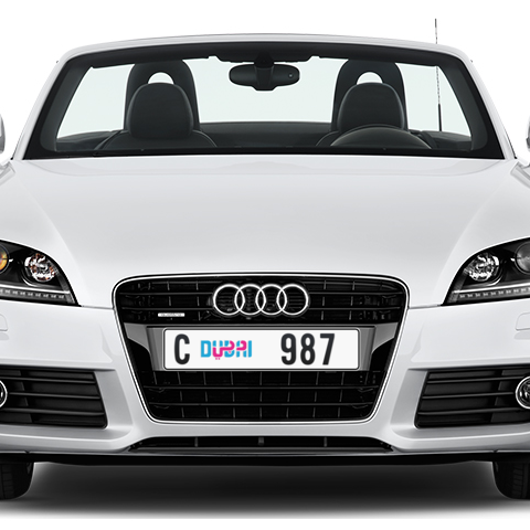 Dubai Plate number C 987 for sale - Long layout, Dubai logo, Сlose view