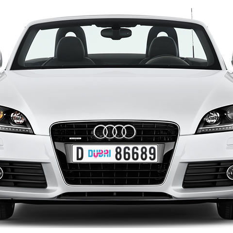 Dubai Plate number D 86689 for sale - Long layout, Dubai logo, Сlose view