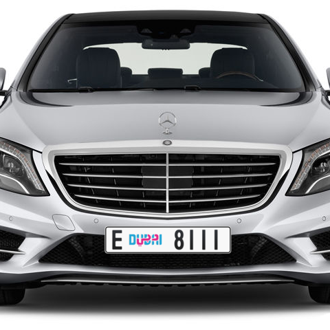 Dubai Plate number E 8111 for sale - Long layout, Dubai logo, Сlose view
