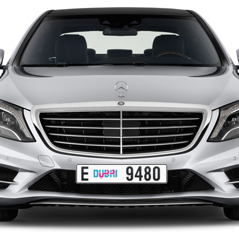 Dubai Plate number E 9480 for sale - Long layout, Dubai logo, Сlose view
