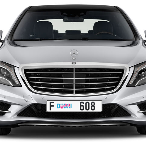 Dubai Plate number F 608 for sale - Long layout, Dubai logo, Сlose view