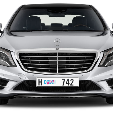 Dubai Plate number H 742 for sale - Long layout, Dubai logo, Сlose view
