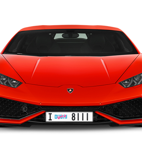 Dubai Plate number I 8111 for sale - Long layout, Dubai logo, Сlose view