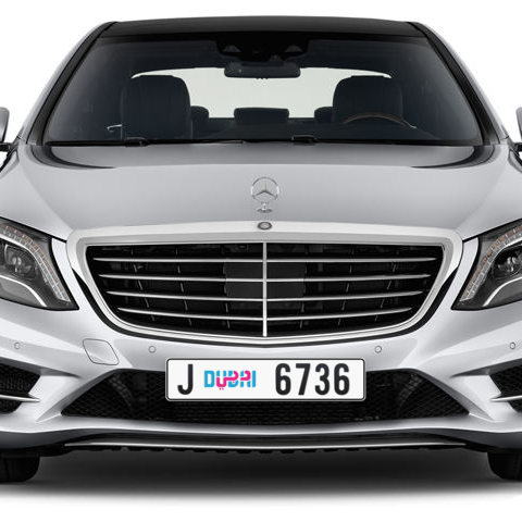 Dubai Plate number J 6736 for sale - Long layout, Dubai logo, Сlose view
