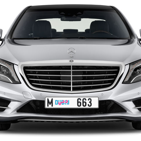 Dubai Plate number M 663 for sale - Long layout, Dubai logo, Сlose view