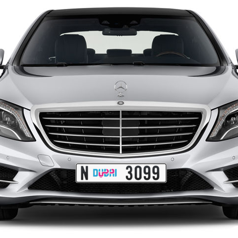 Dubai Plate number N 3099 for sale - Long layout, Dubai logo, Сlose view