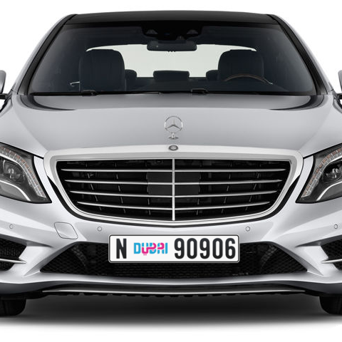 Dubai Plate number N 90906 for sale - Long layout, Dubai logo, Сlose view