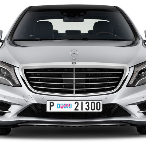 Dubai Plate number P 21300 for sale - Long layout, Dubai logo, Сlose view