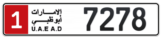 1 7278 - Plate numbers for sale in Abu Dhabi