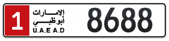 1 8688 - Plate numbers for sale in Abu Dhabi