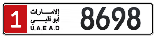 1 8698 - Plate numbers for sale in Abu Dhabi