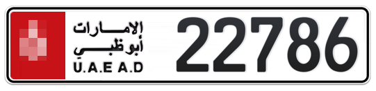 * 22786 - Plate numbers for sale in Abu Dhabi